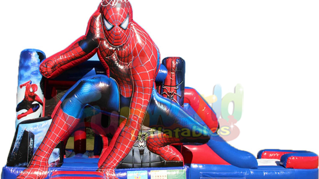 Customized commercial spiderman jumper inflatable bouncy castle with slide