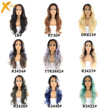 X-TRESS Long Straight Wigs Heat Resistant Synthetic Lace Front Wig Ombre Free Parting Hair For Black Women