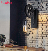 INHDBOX E27 Edison 40W LED lights Vintage Retro industrial lamp pendant light modern hanging lamp wire Loft Coffee