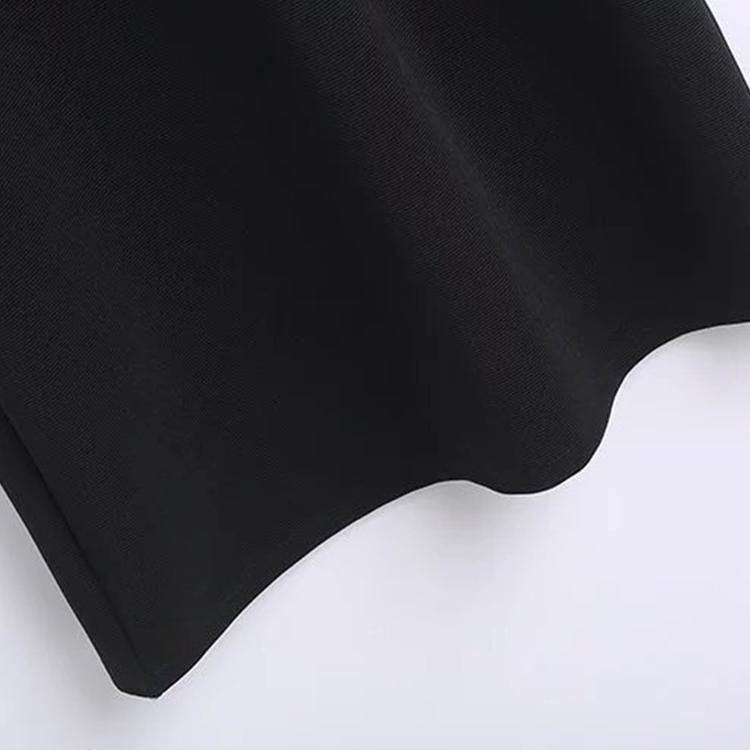 Hs Moda Kadınlar Uzun Kollu Düz Kesim Midi Siyah Elbise