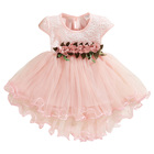 new fashion appliques flower baby girl mesh lace princess white pink dress for toddler