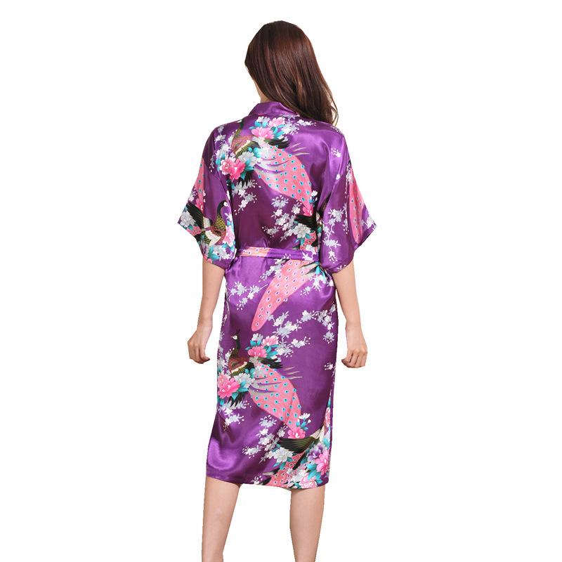 Al por mayor de las mujeres de novia bata de seda sexy camisón largo floral de kimono de pavo real de Albornoz pijamas plus tamaño