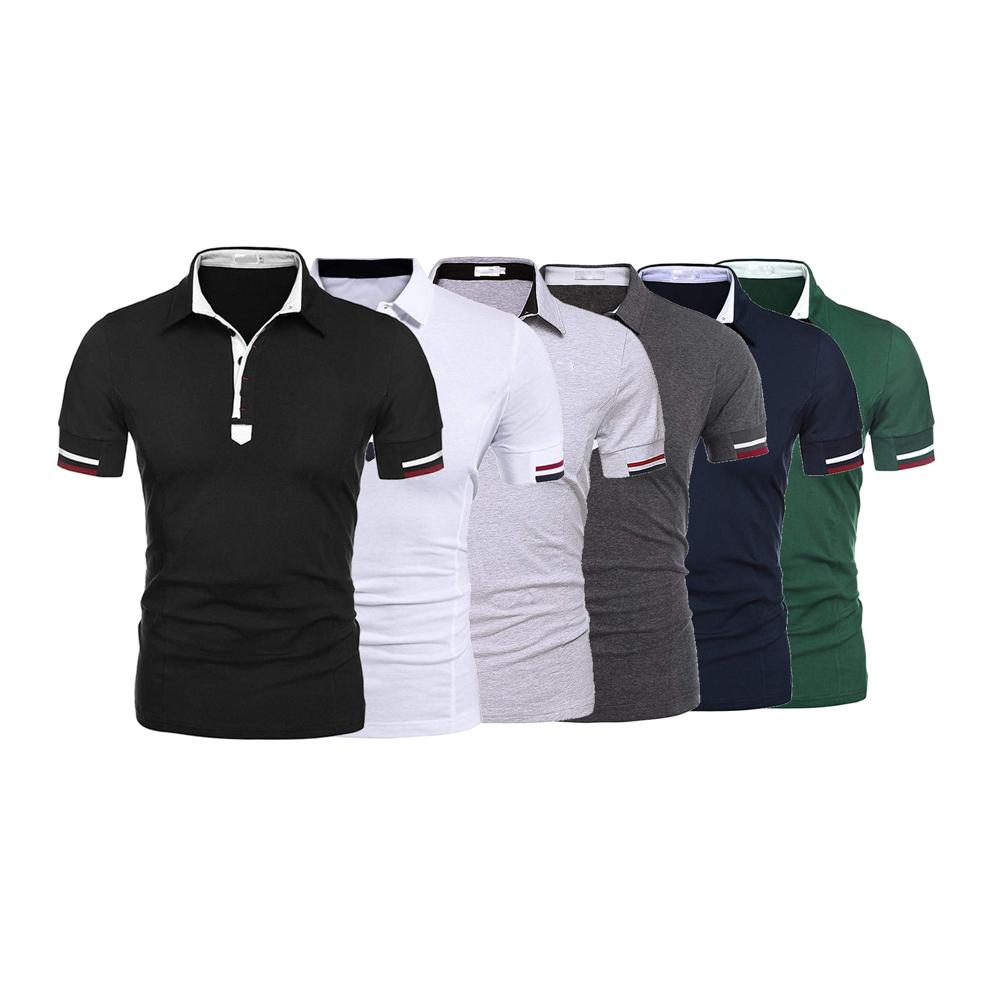 カスタム印刷された色コンビネーション綿ポリエステルメンズブレード襟スポーツゴルフポロシャツ