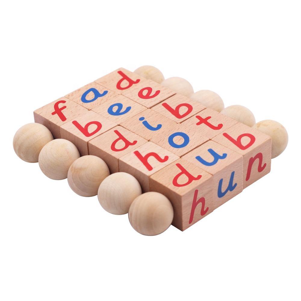 Montessori Kayu Blok Mainan Fonetik Anak Usia Dini Anak-anak Belajar Membaca Alfabet Blok Kelas Aman Tidak Beracun Mainan Bayi