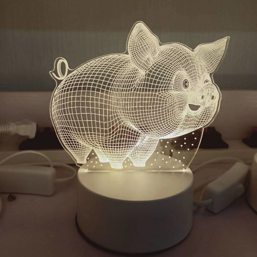 Lovely led 3D illusion deer lamp for baby bedroom night light