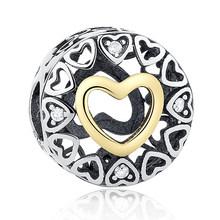 100% подлинное серебро 925 пробы полое сердце золотой шарм в форме сердца бусины Fit Pandora браслет женские модные ювелирные изделия подарок матер...(Китай)