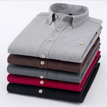 S8MA Men's Long Sleeve Shirts Solid Cotton Slim Shirts Leisure Men's High Quality Shirts