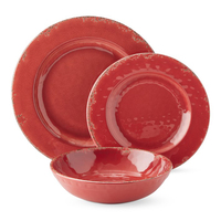 Crack Design Plate & Bowl Dinnerware Set, Red Color, 12 Pieces