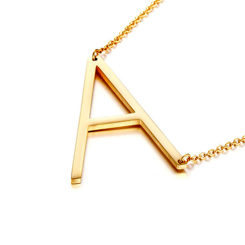 18k gold plated initial jewelry letter pendant necklace bamboo alphabet necklace for women