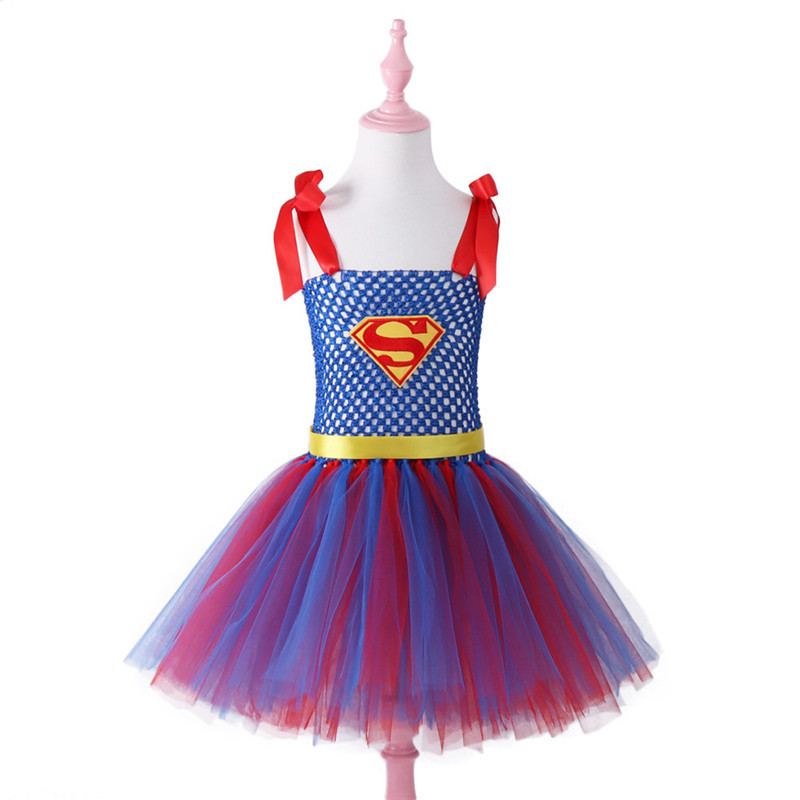 Halloween Hot Selling Meisje Superman Prinses Ruche Mesh Lace Kids Superhelden Dress Party Verjaardag