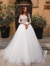 Свадебное платье с длинными рукавами; es 2020; Кружевное платье с v-образным вырезом и аппликацией; Свадебные платья размера плюс; ТРАПЕЦИЕВИДН...(Китай)