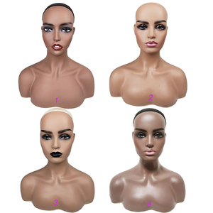 Wig Mannequin Head And Bust Realistic Female Bald Wig Display Stand Afro Mannequin Head with Shoulders
