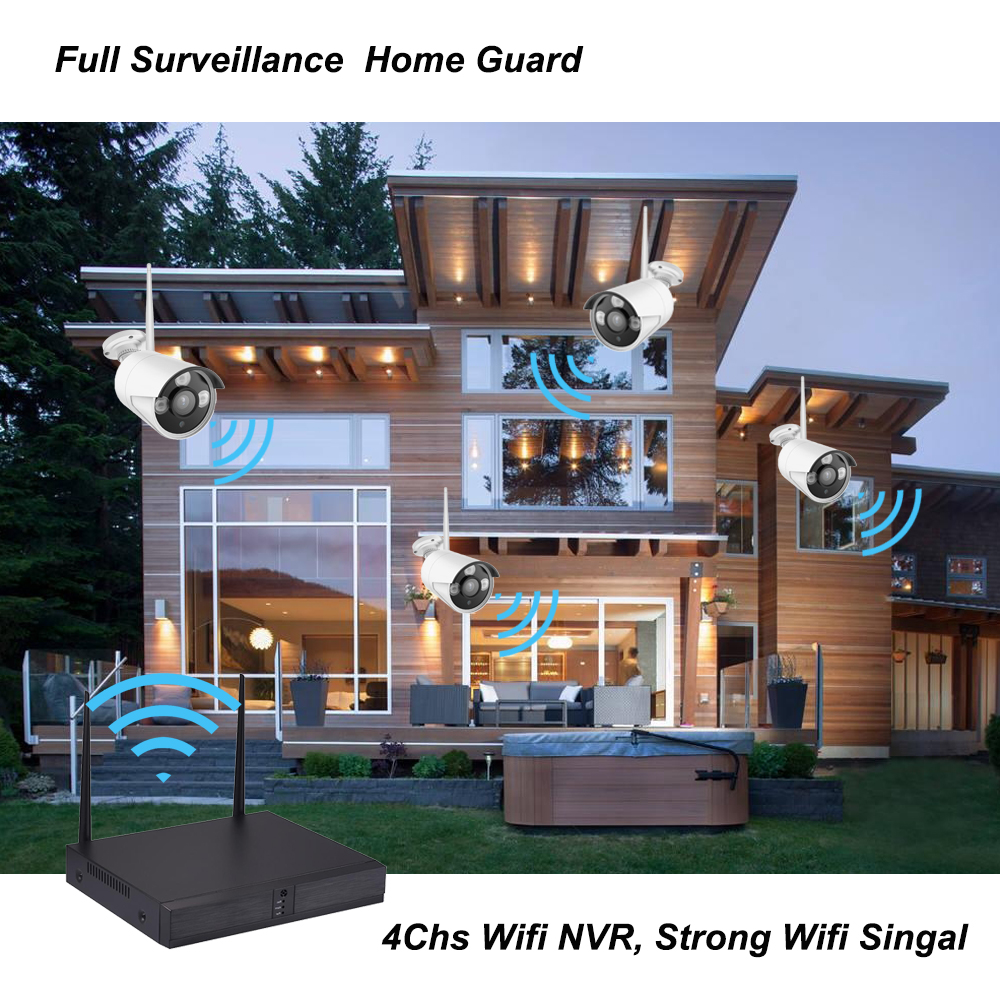 4ch 1080P Wireless CCTV Camera System IP Camera Waterproof Outdoor P2P Home Security System Video Surveillance Kits Inlifecam
