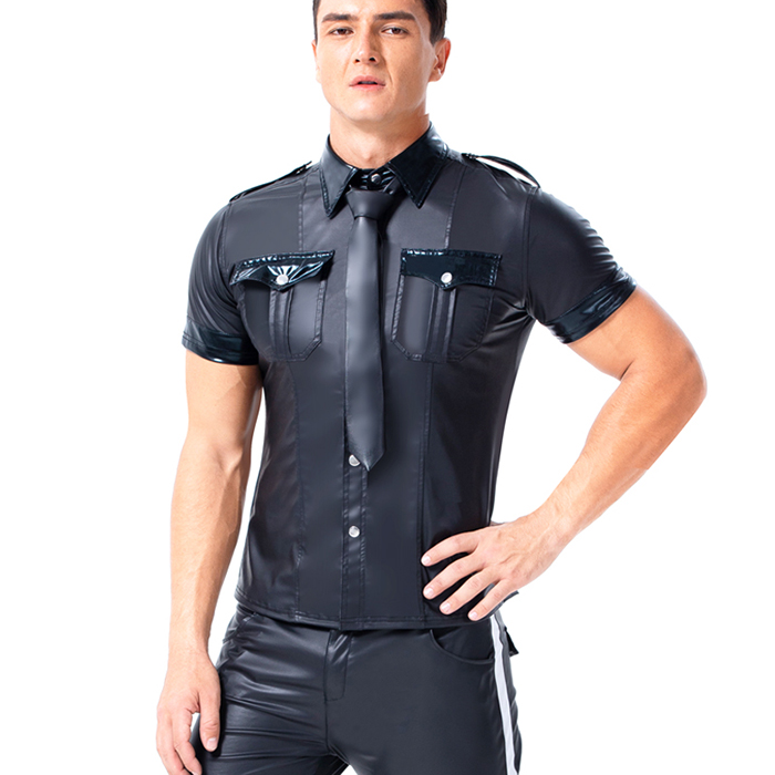Wonder Beauty Mens Short Sleeve Patent Leather Gay Tee Shirts PU Vinyl Culbwear Costume W926037