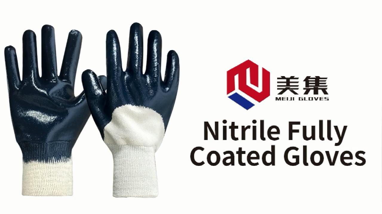 Blau Farbe Öl beständig 3/4 nitril tauch schwere arbeit wasserdichte arbeits handschuhe