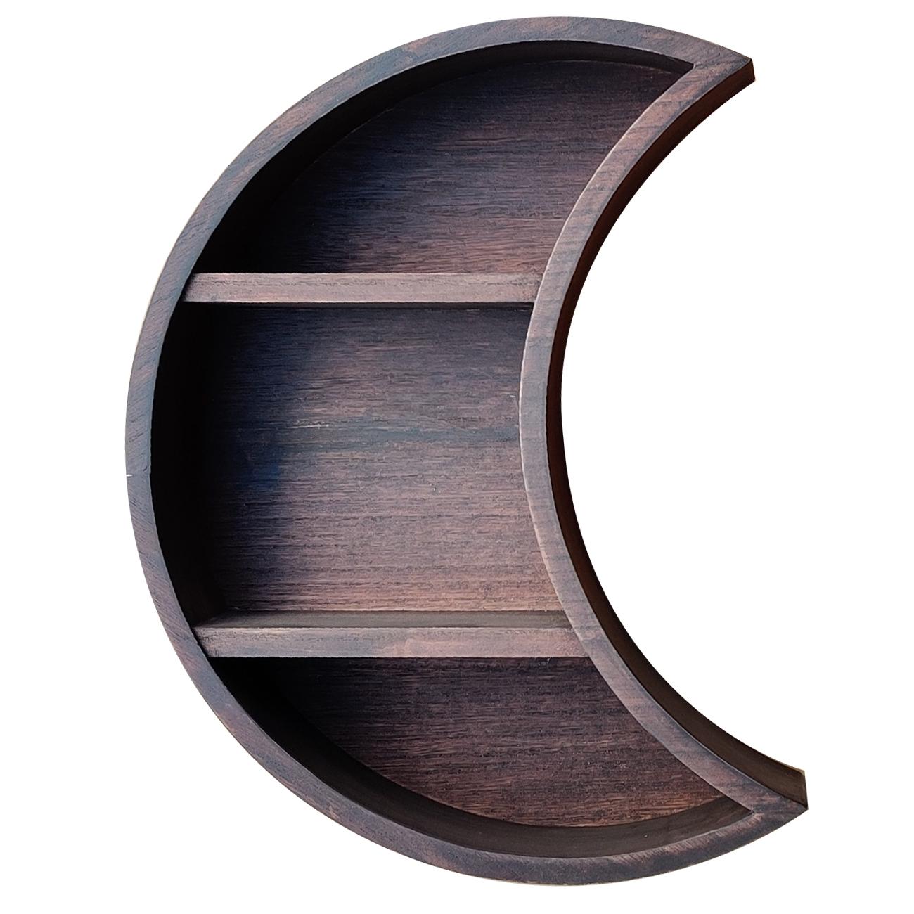 Wall Mounted Moon Shelf Wooden Floating Shelves Hanging Storage Display Shelf Wall Decor for Living Room Bedroom