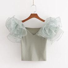 Сетчатая Лоскутная трикотажная укороченная женская футболка элегантная v-образный вырез короткий рукав женская футболка 2020 летний сексуал...(Китай)