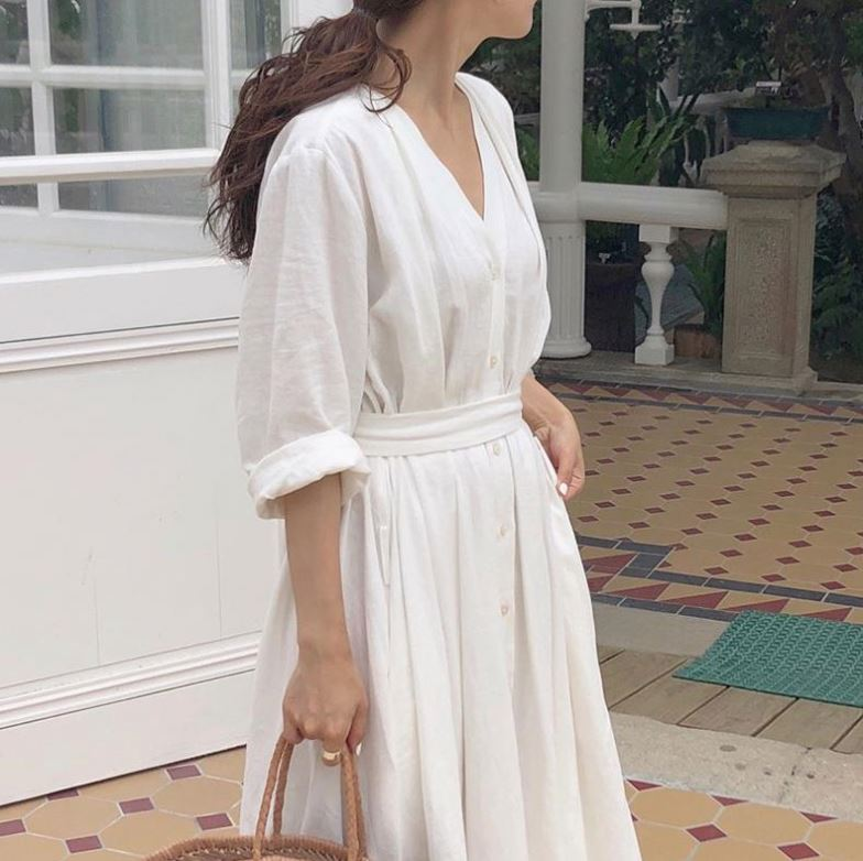 Korean Women Casual Dress Solid Ankle-Length Autumn Party Dress Vestidos Cute Clothing Office Lady Fold Belt Loose Dress