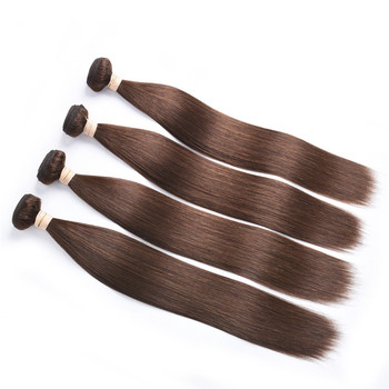 free sample #4 light brown Color Straight Wave Virgin Brazilian Human Hair Bundles Virgin Cuticle Aligned