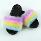 Fur 1 Pair Home Lady Furry Indoor Slippers Faux Fur Wholesale Slippers Fur With Logo