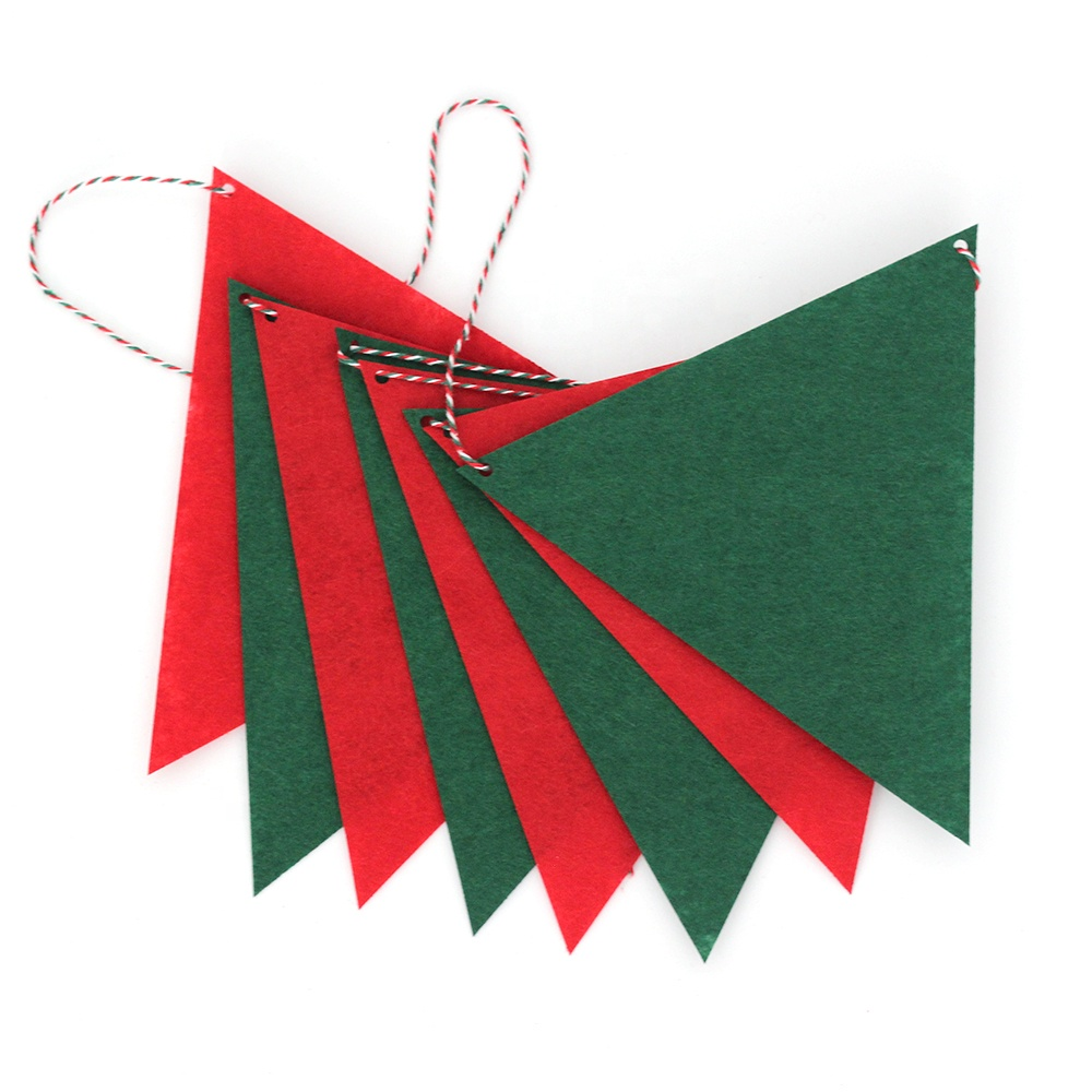 8-in-1 Non-woven Fabric Triangle Flag Decorative DIY Craft Supplies Indoor Christmas Ornaments