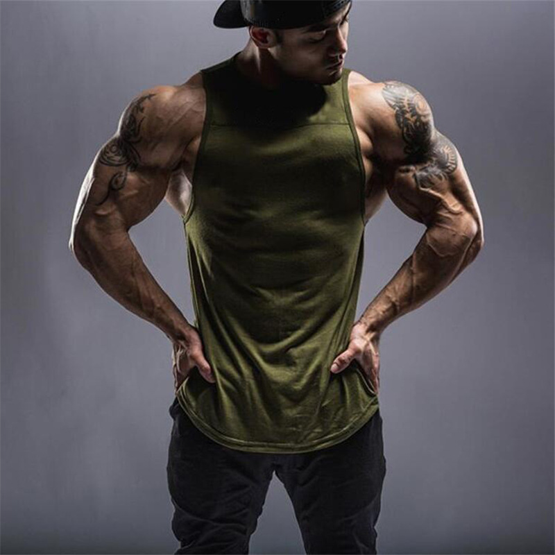 mens sports running fitness vest t-shirt pure color no brand sleeveless tanks