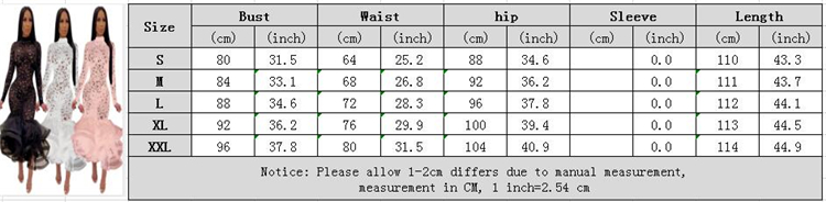 0022811 wholesale fashion sexy lace perspective hollow out elastic long sleeve ruffles Party Ladies Sexy Dress