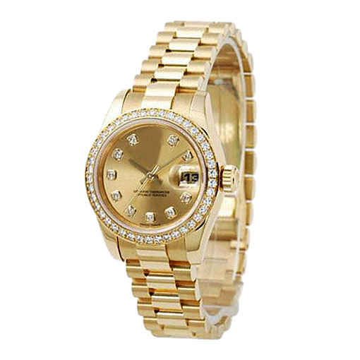 Gold Plated Crystal Stainless Steel Water Resistant Watch