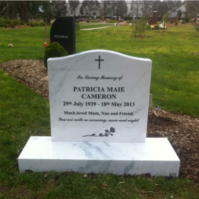 Large Hand Carved White Natural Marble Angel Headstone
