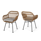 Woven Chairs Indoor/Outdoor Woven Faux Rattan Chairs With Cushions Set Of 2