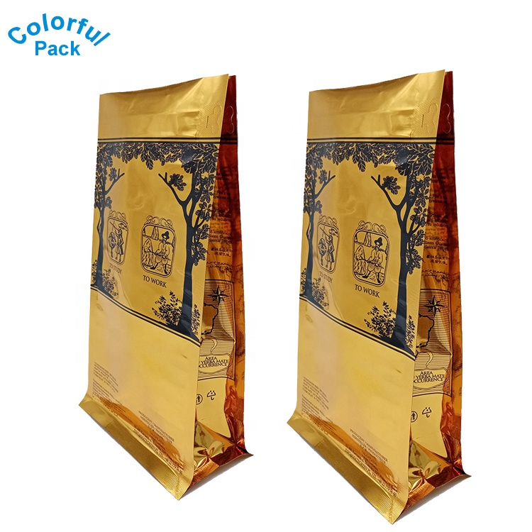 High quality Gold color Flat bottom bags Coffee Bean packaging plastic ziplock bag with valve