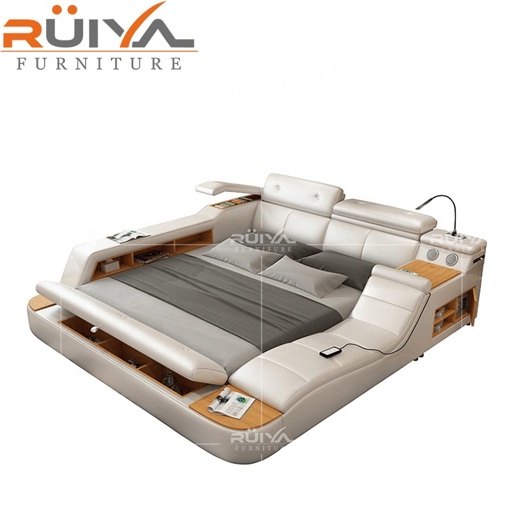 Most Popular modern multifunctional leather king size <strong>bed</strong> with storage
