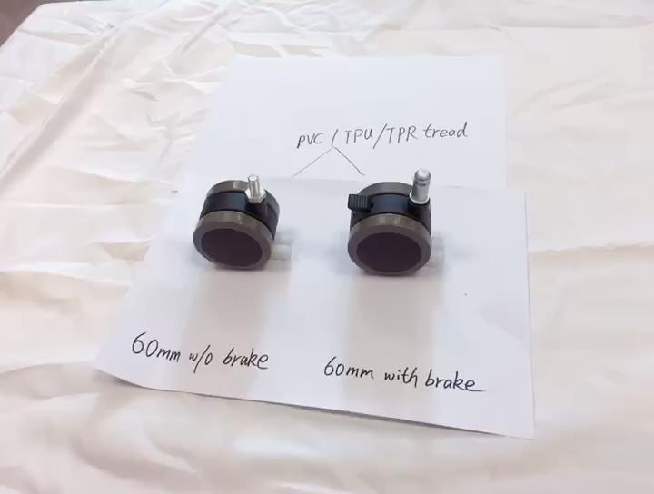 60mm double roulette double en nylon avec ressort en métal broche