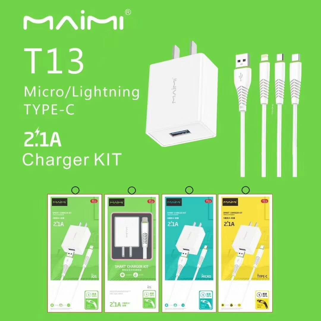 T13 Maimi  EU plug USB charger cable travel kit  Wall Charger Adapter Fast Charger  2.1A Fast type C / Lightning cable