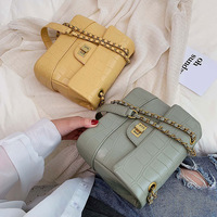 Korean fashion women's handbag new ladies stone pattern handbag simple leather chain messenger shoulder bag