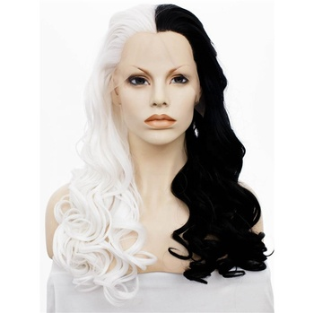 Half Black Half White Free Part Curly Synthetic Hair Lace Front Wig Buy Synthetic Lace Front Wig Curly Synthetic Wig Free Part Synthetic Wig Product On Alibaba Com