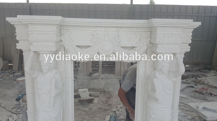 Indoor Usage Large Sculpture French Marble Fireplace Surround