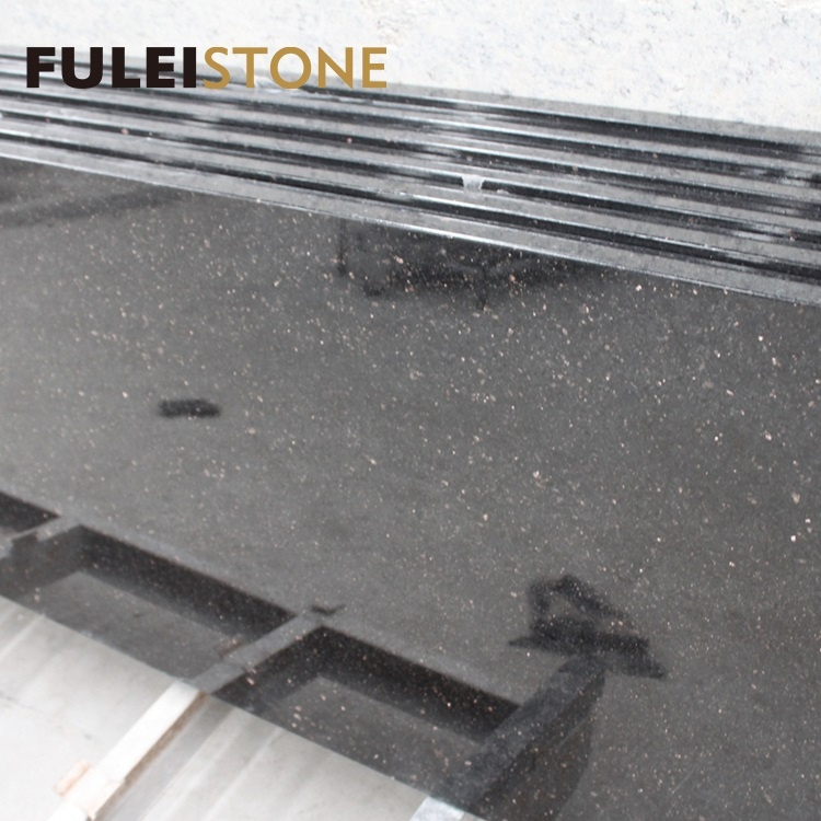 Prefab Black Galaxy Granite Kitchen Countertop