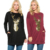 Quality Assured Round Neck Front Deer Printed Black Christmas Sweatshirt For Women