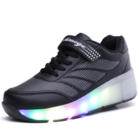 Children's charging shoes automatically with lights single and double roller skates LED colorful flashing lights shoes