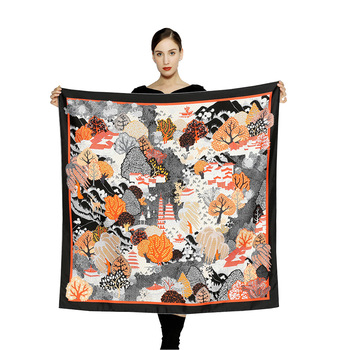 Custom no moq twill silk scarf women digital print Fashion Turkish satin shawl