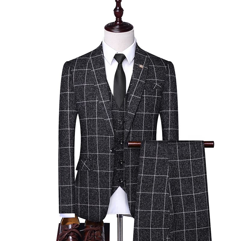 Hot Selling Men's Factory Price High Quality Custom Fit Three Piece Plaid Business Casual Mens <strong>Formal</strong> <strong>Suit</strong>