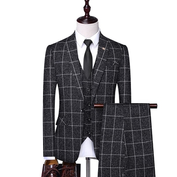Hot Selling Men's Factory Price High Quality Custom Fit Three Piece Plaid Business Casual Mens Formal Suit