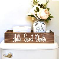 2 Sides Nice butt Rustic Farmhouse Wooden Crate Bathroom decor box Toilet Paper Roll Holder