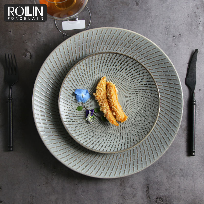 Kiln gray Color Porcelain tableware Ceramic Tableware for Hotel and Restaurant