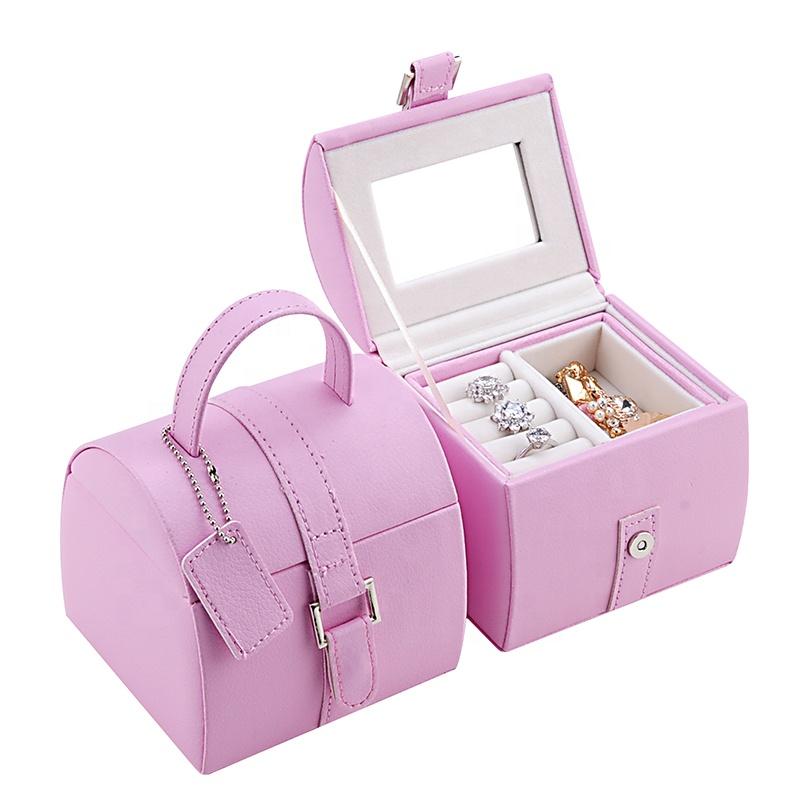 wholesale pu leather luxury kids portable case velvet custom children mirror gift box with ribbon