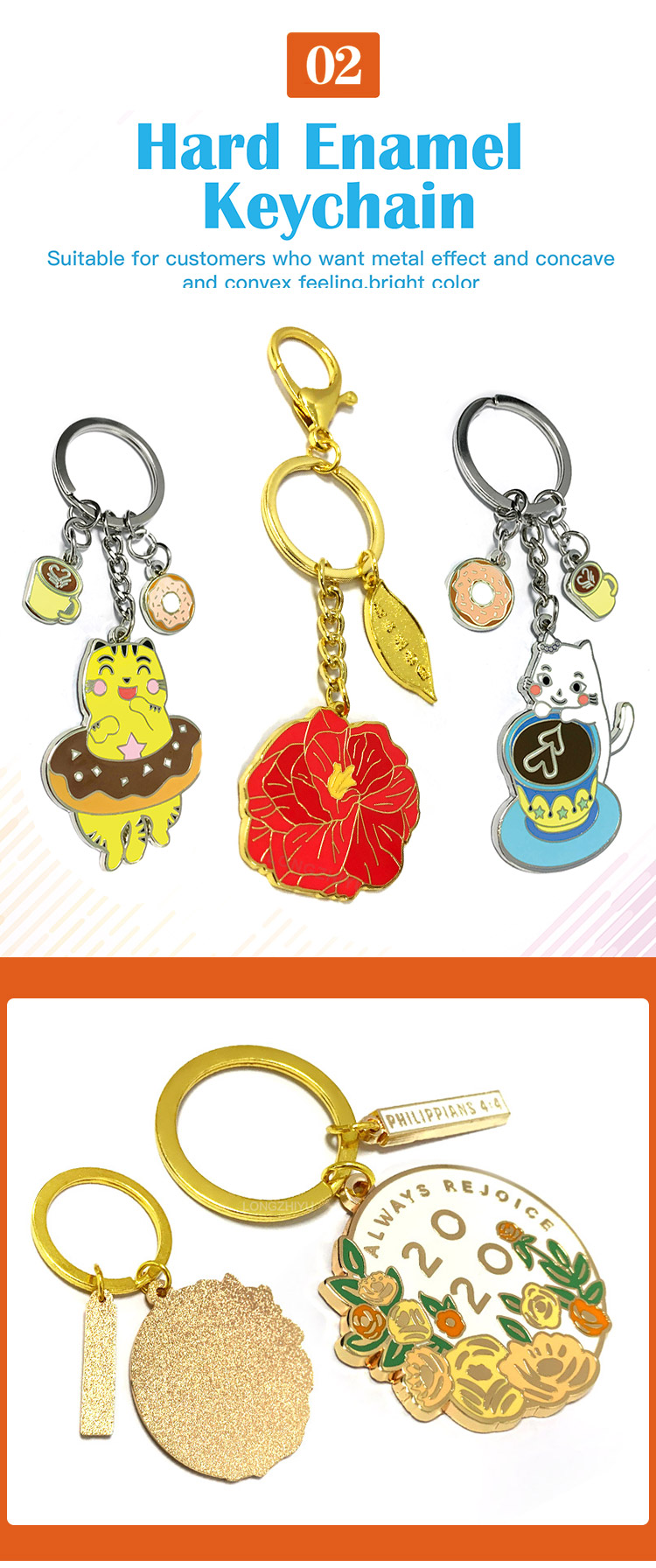 Longzhiyu 14 years professional customized logo cheaper contactless keychain soft enamel gold plating metal keychain