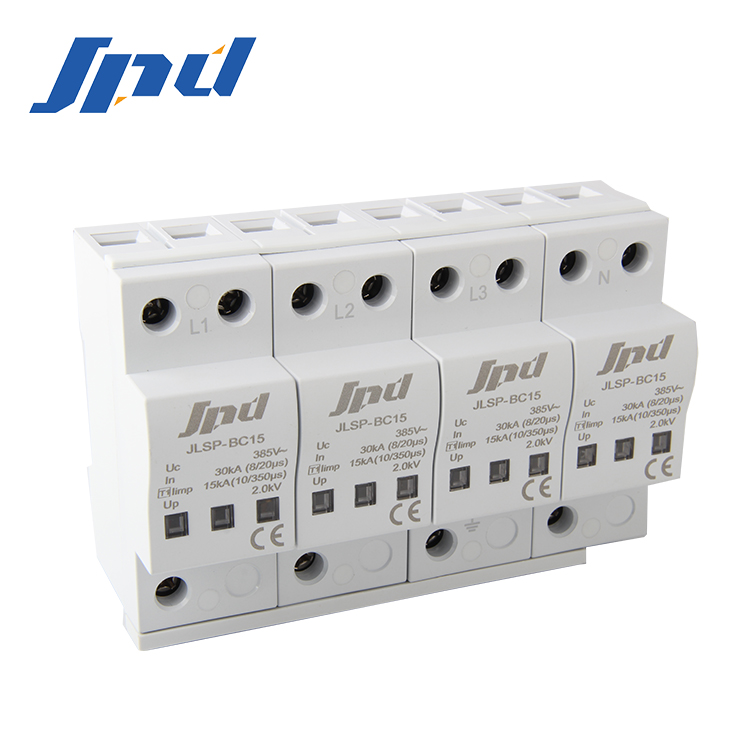 JINLI Class l lightning protection device B+C SPD 15KA surge protective device ac surge protection type 1