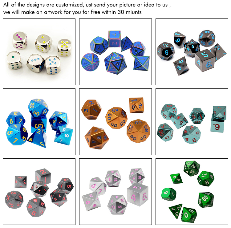 Manufacturer 2020 new paint metal custom polyhedron game dice