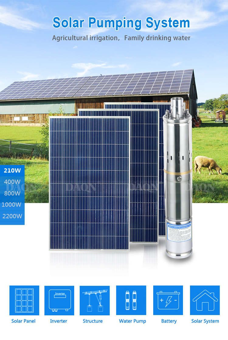 ALLTOP Energy saving cropland irrigation system 210 watt mass flow solar power water pump